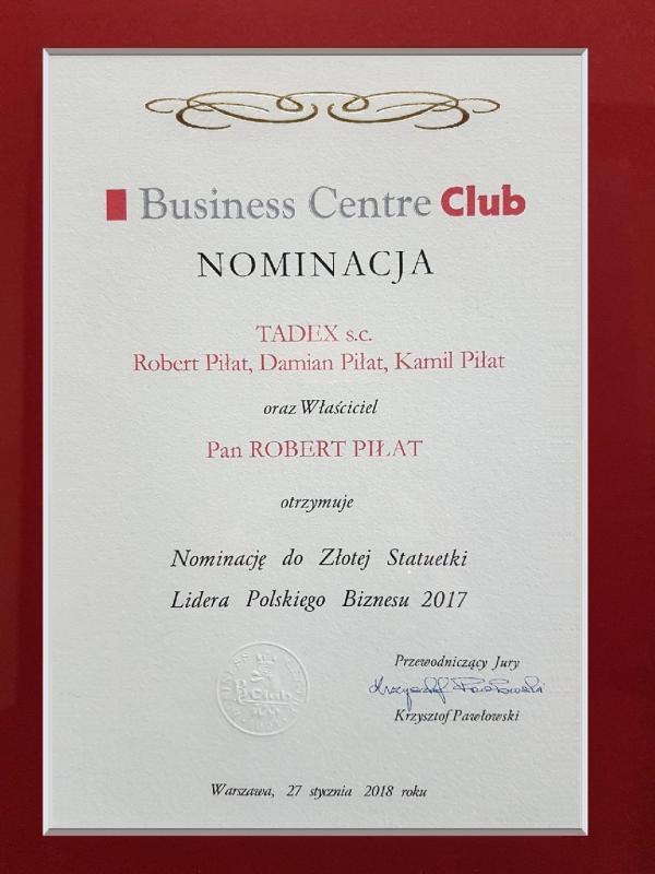 Nominacja do Złotej Statuetki Lidera Polskiego Biznesu 2017